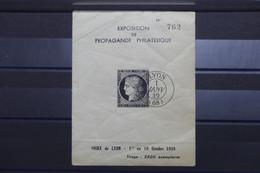 FRANCE - Bloc Souvenir ( Cérès 20c Noir ) De L'Exposition De Propagande Philatélique De Lyon En 1938, Froissé - L 101891 - Foglietti Commemorativi