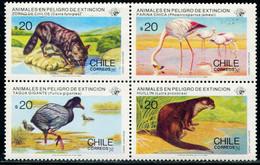 BA2507 Chile 1985 Protected Area Animal Flamingo, Etc. 4V - Flamingo