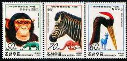 BA2518 North Korea 1999 Zoo Animal Chimpanzee Red-crowned Crane And Other 3V - Chimpanzees