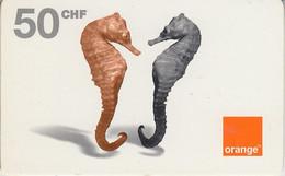 SWITZERLAND - PHONE CARD - PRÉPAYÉE - ORANGE * RARE  ***  HIPPOCAMPES  *** - Pesci