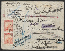 1932 - TURKEY TURQUIE - LETTRE RECOMMANDE ISTANBUL A FRANCE - REDIRIGE 3 FOIS - INCONNU - Cartas