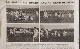 1921 RUGBY - MATCH RACING CLUB DE FRANCE = CLUB BÉZIERS À COLOMBES - Other