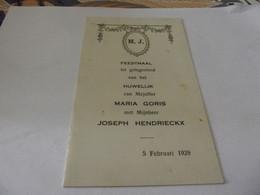 Menu Ancien 5 Février 1929 - Menus