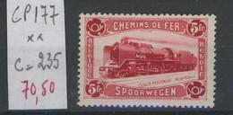 5F Locomotive  1934.    COB 177 **.  Cote. 235,-€. Postfris. Sans Charnière - 1923-1941