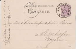 DR Ganzsache P 12 Klaucke Stempel K1 Hamburg 7 1882 - Machine Stamps (ATM)