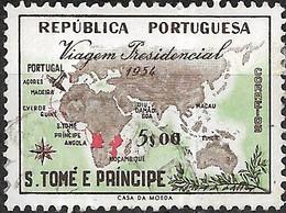 ST THOMAS AND PRINCE 1954 Presidential Visit - 5e - Route Of President's Tour FU - St. Thomas & Prince