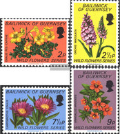 United Kingdom - Guernsey 67-70 (complete Issue) Unmounted Mint / Never Hinged 1972 Wild Flowers - Guernesey