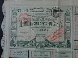 PANAMA - CANAL INTEROCEANIQUE - OBLIGATION DE 500 FRS 3% - PARIS 1884 - COULEUR VERTE - Unclassified