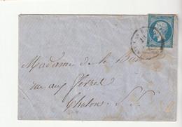 Lettre Avec Classiques De France:Napoléon N°14 Avec Cachet à Date Sarde D'Aix Les Bains Pour Chalon Sur Saône, 1860 - 1853-1860 Napoléon III.