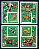 Niger 1996, Scout, Butterfly, Leopard, Snake, Elephant, Birds, Giraffes, Hippo, Monkey, 4BF IMPERFORATED - Sperlingsvögel & Singvögel