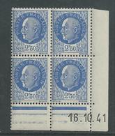 France N° 520 XX : Type Maréchal Pétain : 2 F. 50 Outremer  En Bloc De 4 Coin Daté Du 16 . 10. 41 ; Sans Charnière, TB - 1940-1949