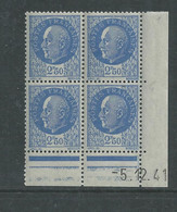 France N° 520 XX : Type Maréchal Pétain : 2 F. 50 Outremer  En Bloc De 4 Coin Daté Du 5 . 12 . 41 ; Sans Charnière, TB - 1940-1949