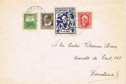 41165. Carta CERDANYOLA (Barcelona) 1937. Guerra Civil, Viñeta Asistencia Social - 1931-50 Storia Postale