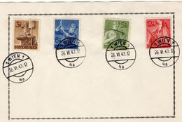 Deutsches Reich Michel Nr. 850 - 853 Auf Einem Blatt Gestempelt Wien 26.6 1943 FDC - Sin Clasificación