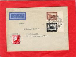 Luftpost Brief Deutsches Reich Mit Sondermarken Sonderstempel Karlsruhe - Sin Clasificación