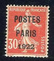 """PREOBLITERE N°32 COTE 200 € Signé J. F. BRUN """"POSTES/PARIS/1922"""" SUR 30ct TYPE SEMEUSE CAMEE - 1893-1947"""
