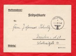Deutsches Reich Seltene Feldpostkarte Wichtig Mit Feldpostnummer - Sin Clasificación