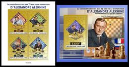 TOGO 2021 - Alexander Alekhine, Chess. Gold Foil. M/S + S/S. Official Issue [TG210233-g] - Chess