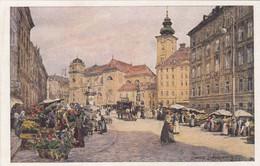 7598) WIEN - FREYUNG Mit SCHOTTENKIRCHE - Wiener Kunst - ALT !! Signiert Götzinger - - Altri