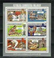 MADAGASCAR 1987 - OLYMPICS BARCELONA 92 - DIVERSOS DEPORTES Y MONUMENTOS - DENTADA - DENTELÉ - Hípica
