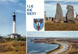 FINISTERE - ILE DE SEIN - TROIS VUES - PHARE, MENHIRS, VUE GENERALE - Ile De Sein
