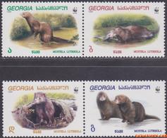 Georgië 1999 - Mi:308/311 Type II, Stamp - XX - Wwf Mink - Georgië