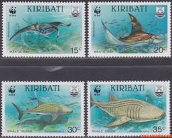 Kiribati 1991 - Mi:566/569, Yv:238/241, Sc:562/565, Stamp - XX - Wwf Sea animals - Kiribati (1979-...)