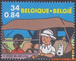 België 2001 - OBP:3049, Stamp - XX - Tintin In Africa Belgie - Kongo - Unused Stamps
