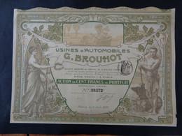 FRANCE - 75 - PARIS 1906 - USINES D'AUTOMOBILES G. BROUHOT - ACTION 100 FRS - ART  NOUVEAU - ETAT VOIR DETAIL - Unclassified