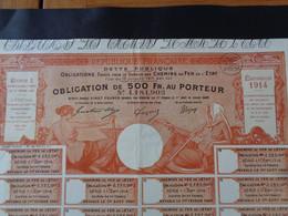 FRANCE - EMISSION 1914, SERIE 1 - CHEMIN DE FER DE L'ETAT - OBLIGATION DE 500 FRS - BELLE ILLUSTRATION - Unclassified