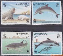 Guernsey 1990 - Mi:497/500, Yv:499/502, Stamp - XX - Wwf Sea animals - Guernesey
