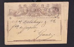 DDZ 910 -- Entier Postal No 2 BRUXELLES 1872 Vers GAND - DECOUPE IMPARFAITE - TRES RAREMENT VU - Cartoline [1871-09]