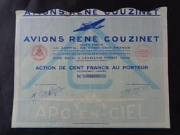 FRANCE - 92 - LEVALLOIS-PERRET 1931 - AVIONS RENE COUZINET - ACTION 100 FRS - AVEC AVION L'ARC EN CIEL - Unclassified