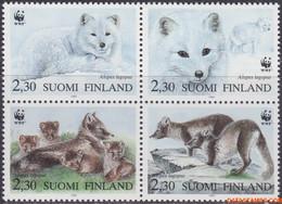 Finland 1993 - Mi:1202/1205, Yv:1166/1169, Stamp - XX - Wwf Polar Fox - Unused Stamps