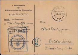 Feldpostkarte Annahmestelle Offiziersbewerber Der Kriegsmarine STRALSUND 6.6.44 - Occupation 1938-45