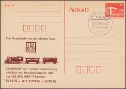 DDR P 86II Bauwerke 10 Pf. TT-Modellbahn Sonderfahrt 1989, BERLIN BPA 23.9.89 - Ohne Zuordnung