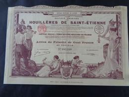 FRANCE - 42 - HOUILLERES DE ST ETIENNE - ACTION DE PRIORITE DE 100 FRS - LYON 1926 - PEU COURANT - Unclassified