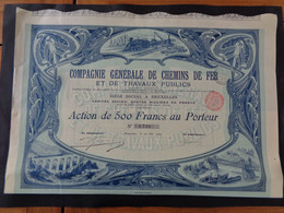 BELGIQUE - BRUXELLES  1902 - ART NOUVEAU - CIE DE CHEMINS DE FER ET TRAVAUX PUBLICS - ACTION DE 500 FRS - Unclassified