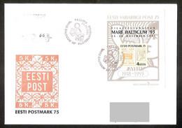 "Estonia 1993 Sheet With Overprint Mi BL6  FDC ""R"" Stamp Exhibition ""Mare Baltikum-93"" Gone Post REGISTERED - Estonia"