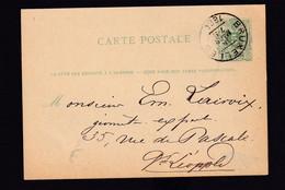 DDZ 912 -- Entier Postal Lion Couché BRUXELLES 1884 En Ville - Cachet 12 Et 11 Points Au Centre , Cote COBA RARE - Cartoline [1871-09]