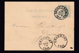 DDZ 913 -- Entier Postal Lion Couché BRUXELLES Nord 1886 Vers GRAMMONT - 2 Cachets D'arrivée , Dont 1 Centre-vide - Cartoline [1871-09]