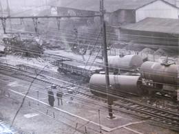 ACCIDENT GARE DE BRUNOY 1957 DERAILLEMENT TRAIN DE MARCHANDISES PHOTO 24 X 18 Cm - Trains
