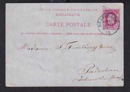 DDZ 914 -- Entier Postal Type TP 30 NEUFVILLES Vers PADERBORN Allemagne - - Cartoline [1871-09]