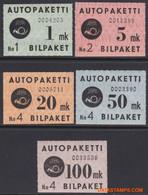Finland 1949 - Mi:Auto Paket Marken 1/5, Yv:Autobus 1/5, Bus Parcel Stamp - XX - Package Check Seal - Paketmarken