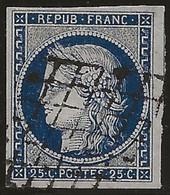 Cérès N°4 Bleu, Oblitération Grille, Pas D'aminci, Scans Recto-verso. - 1849-1850 Ceres