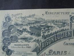 FACTURE - Dpt DE LA SEINE - PARIS 4ème - 1908 - PAPETERIE DE BEAUMONT - COUSSOT-DESBORDES : 25 RUE DU PETIT MUSC - Unclassified