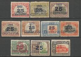 GUATEMALA YVERT NUM. 189/198 SERIE COMPLETA NUEVA SIN GOMA - Guatemala