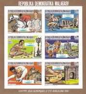 Madagascar Nº Michel 1088B Al 1093B En Hoja Borde De Hoja Dorado - Verano 1992: Barcelona