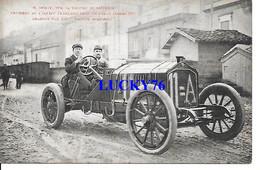 M.duray Sur Sa Voiture De Dietrich 1er De L'equipe Francaise Dans Le Targa Florio 1907 Graisséepar Les Vaccum Mobiloil - Voitures De Tourisme