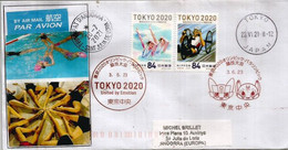 TOKYO 2020 (UNITED BY EMOTION),set Issued 2021, On Letter From Tokyo, Sent To Andorra, With Local Arrival Postmark - Lettres & Documents